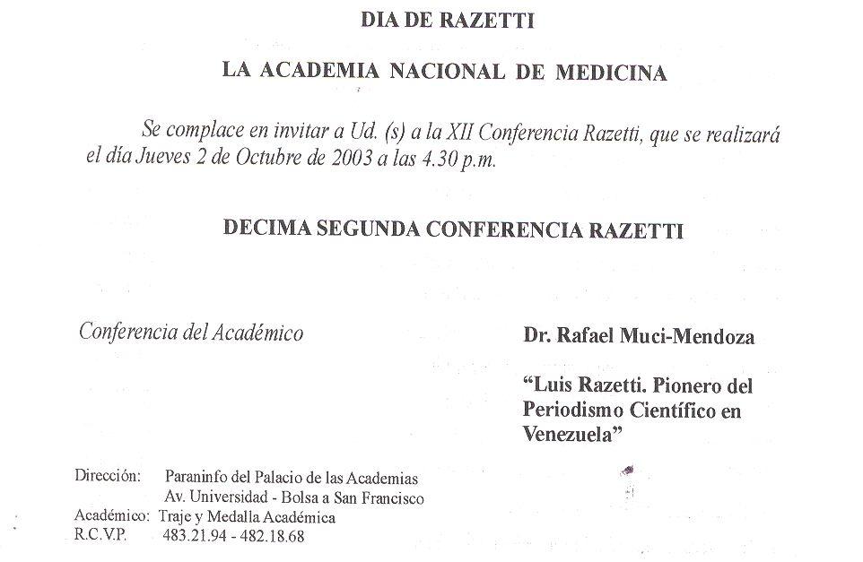 XII Conferencia Razetti 2003: «Doctor Luis Razetti, Pionero del ...